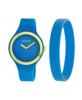 MONTRE MIXTE AM-PM CLUB BLEU + JAUNE