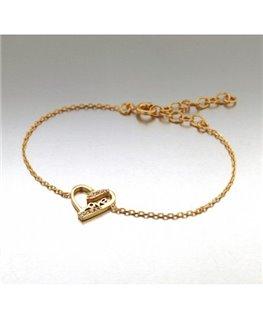 Bracelet Plaqué Or Coeur Oxyde de Zirconium + Ecriture LOVE