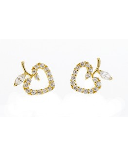 BOUCLES OR 375-000 COEUR POMME OZ