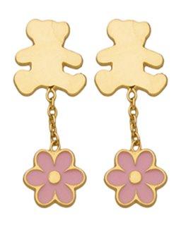 Boucles Pendantes Or Jaune 375-000 LLuLu Castagnette + Fleur Rose