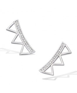 BOUCLES ARGENT RHODIE 3 TRIANGLES OZ