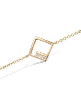 Bracelet Plaqué Or Losange Ajouré + Oxydes de Zirconium