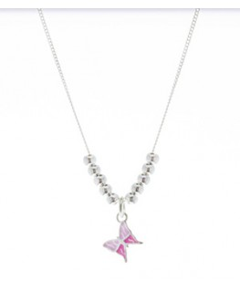 COLLIER ARGENT BRELOQ-PAPILLON ROSE
