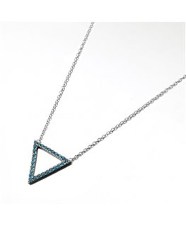 COLLIER ARGENT MOTIF 1 TRIANGLE OZ TURQU