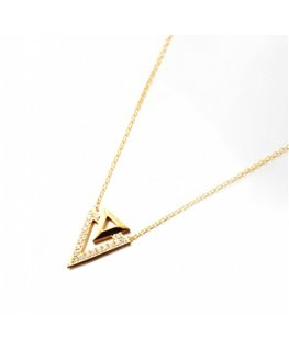 COLLIER Plaqué Or 2 TRIANGLES OZ