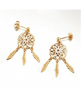 BOUCLES PLAQUE OR ROSE PENDANR 3 PLUMES