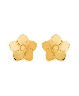 Boucles Puces Or Jaune 375-000 Fleurs Bouton à Vis