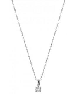 Collier Or Gris 750-000 Maille Forcat Serti Pastille Diamant 0.05 Carats