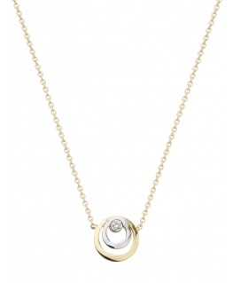 COLLIER or bicolore 750-000 double cercle et diamant