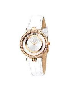 Montre Dame EYKI Cadran Metal Bracelet Cuir Blanc