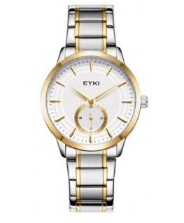 Montre Homme Metal Bicolore EYKI Bracelet Metal Cadran fond Blanc