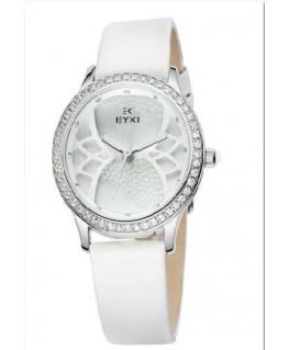 Montre Femme EYKI Bracelet Cuir Blanc Cadran Strass