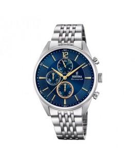MONTRE FESTINA HOMME bracelet acier, fond bleu, chrono, dateur