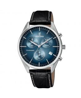 Montre FESTINA Homme Fond Bleu Bracelet Cuir Noir