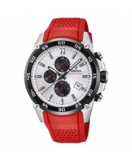 Montre FESTINA Homme Chrono Bracelet Rouge Dateur et Tachymètre