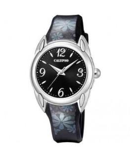 Montre CALYPSO Ado Bracelet Cuir Noir Cadran Fond Noir