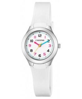 Montre CALYPSO Enfant Bracelet Silicone Blanc Cadran Fond Blanc et Coloré