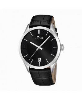 MONTRE LOTUS HOMME bracelet cuir noir et fond noir