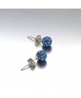 Boucles Puce Argent Boule Cristal Bleu
