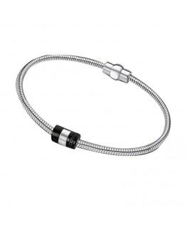 Bracelet LOTUS Dame Acier Perle Noire
