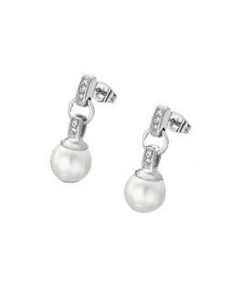 Boucles Pendantes LOTUS Dame Acier + Perles