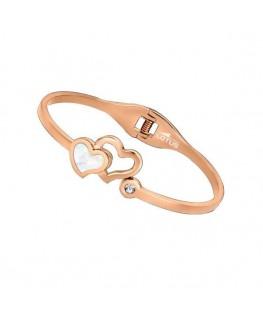 Bracelet Rigide LOTUS FEMME Acier Rose Coeur