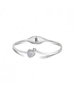 Bracelet LOTUS Femme Rigide Acier + Strass