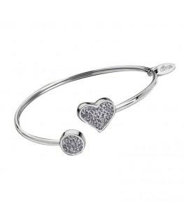 Bracelet LOTUS Femme Acier Coeur Strass