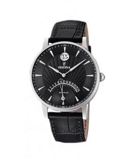 Montre FESTINA Homme bracelet cuir noir fond noir index argenté