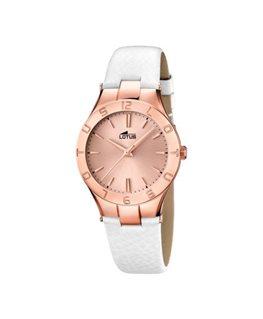 Montre LOTUS Dame bracelet cuir blanc fond rose cuivré