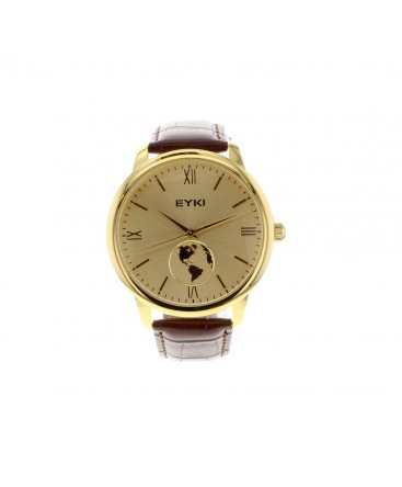 MONTRE HOMME PL/OR S/CUIR CADRAN CHAMPAGNE