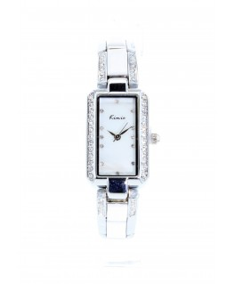 MONTRE FEMME METAL Rectangulaire . Bracelet.METAL BLEU