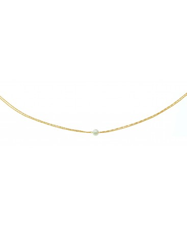COLLIER OR 9 CARATS SING DOUB 1 PERLE CU