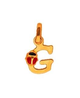 Pendentif Or Jaune 375-000 Initiale G Avec Coccinelle