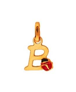 Pendentif Or Jaune 375-000 Initiale B Avec Coccinelle
