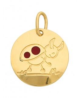 Pendentif Médaille Or Jaune 375-000 Signe du Zodiaque Coccinelle Taureau