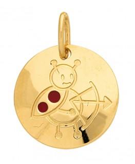 Pendentif Médaille Or Jaune 375-000 Signe du Zodiaque Coccinelle Sagittaire