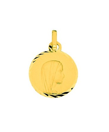 MEDAILLE OR VIERGE RONDE DIAMANTEE