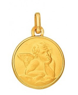 Médaille Or jaune 750-000 Plaque Ronde Bords Lissés Ange