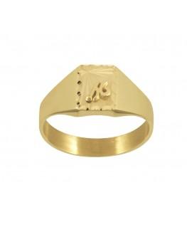 Chevalière or jaune 375/1000 femme carré une initiales