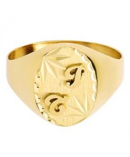 Chevalière or jaune 375/1000 homme ovale deux initiales soudées
