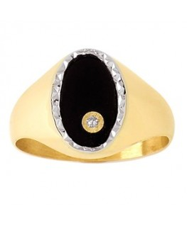 bague or homme onyx