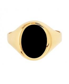 Chevalière Homme Onyx Or Jaune 375-000 Plaque Ovale Verticale