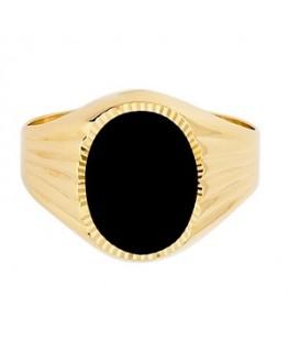 Chevalière Homme Onyx Or Jaune 375/1000 Plaque Ovale Bords Ciselés