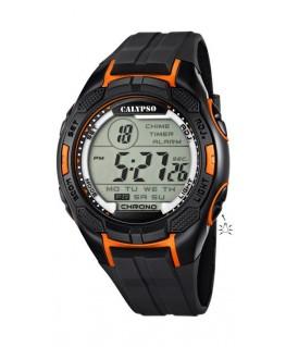 Montre CALYPSO Homme digitale bracelet noir orange boitier noir