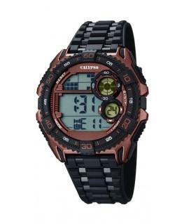 Montre CALYPSO Homme digitale bracelet noir boitier noir marron