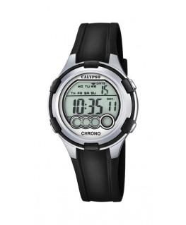 Montre CALYPSO Dame digitale bracelet silicone noir boitier argenté