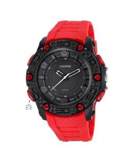 Montre CALYPSO Homme bracelet rouge fond noir boitier noir