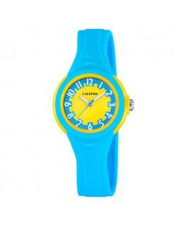 Montre CALYPSO Enfant Bracelet Silicone Azur Fond Jaune
