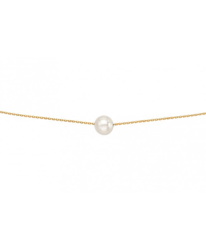 Collier Or Perle De Culture 7mm Chaine F 18 Carats 016900 Colliers